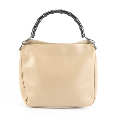 Gucci Bamboo Beige Leather Handbag