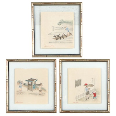 Chinese Inspired Hand-Colored Woodblocks