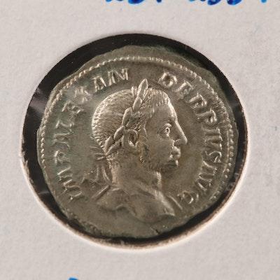 Ancient Roman Imperial AR Denarius of Severus Alexander, ca. 235 A.D.
