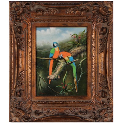 Oil Painting of Two Macaws in a Tree, 21st Century