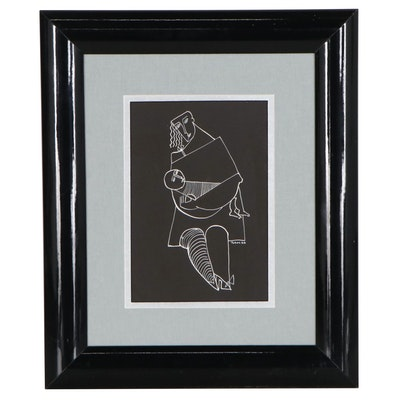 Yuri Gevorgian Yuroz White Ink Drawing of Mother and Baby, 1988
