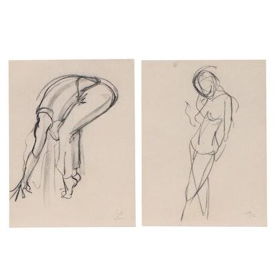 """Greg Lauren Gestural Figure Charcoal Drawings """"Seane,"""" 2002"""