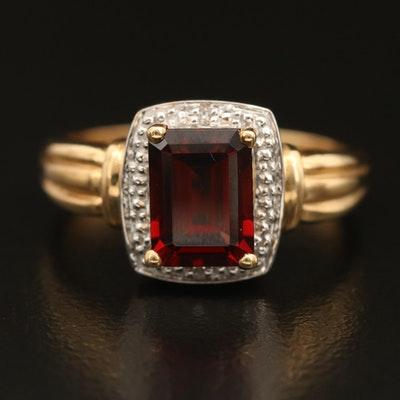 10K Garnet and Diamond Ring with Fluted Shoulders