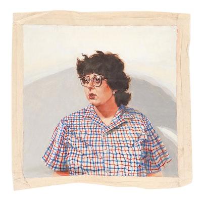 Joseph Daniel Fiedler Portrait Acrylic Painting, Circa 1983