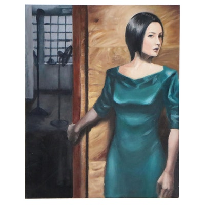 Figural Oil Painting of Woman in Green Dress, 2007