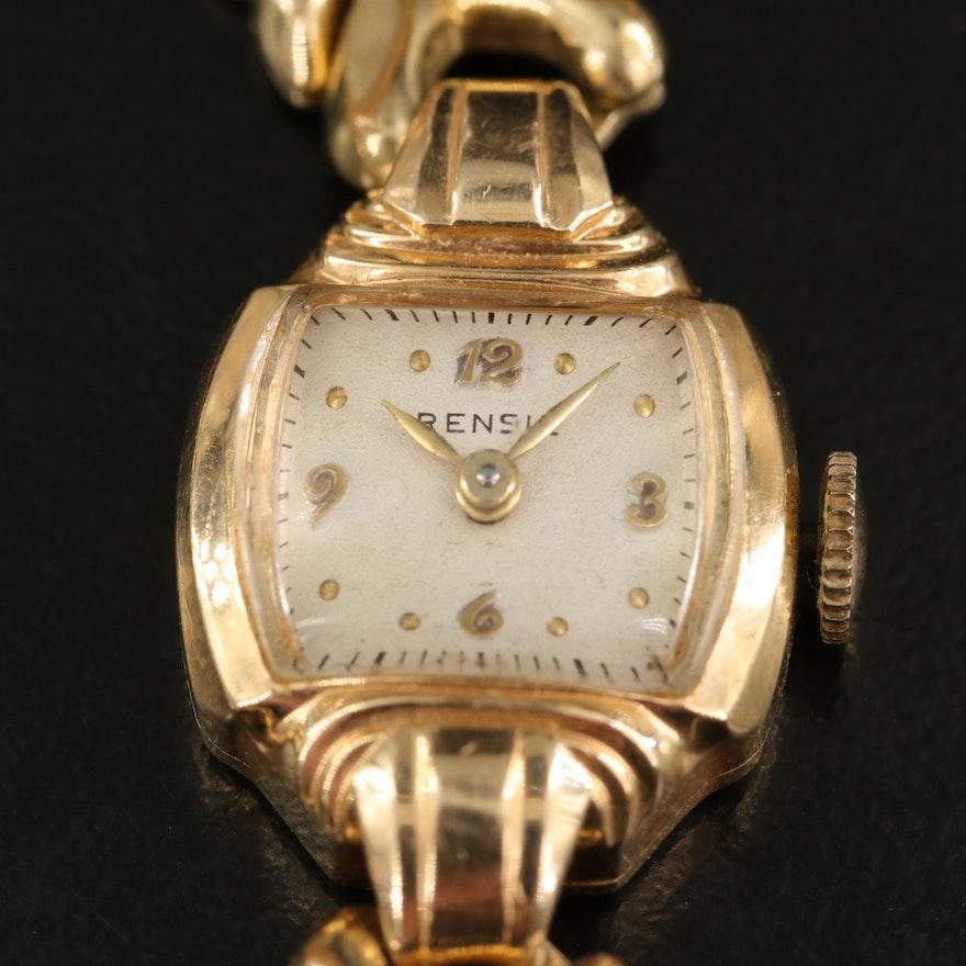 14K Swiss Rensie Stem Wind Wristwatch