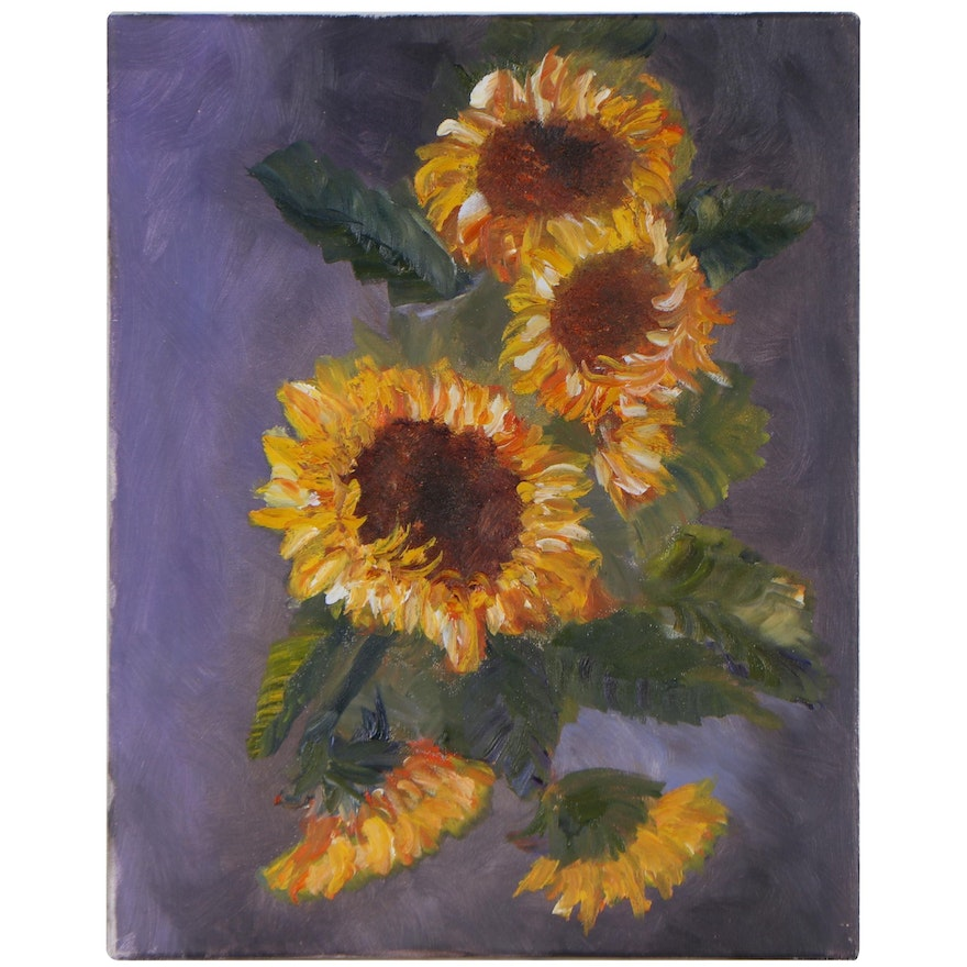 Still Life Oil Painting of Sunflowers, Late 20th Century