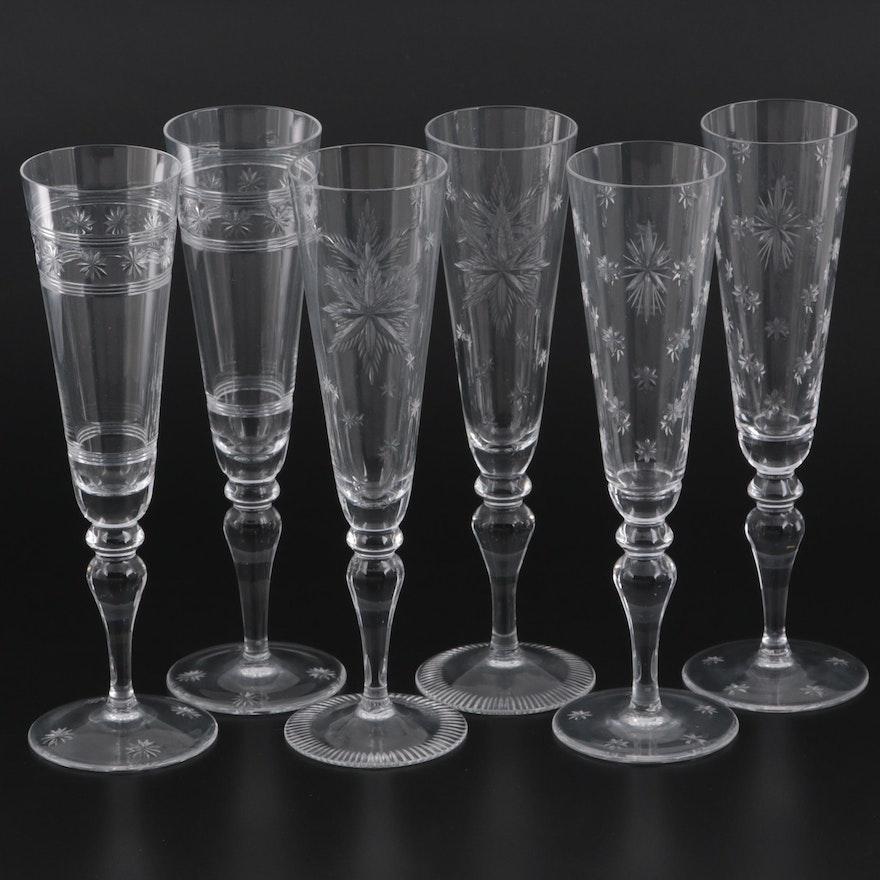 "William Yeoward ""Millennium,"" ""Lauren,"" and ""Audrey"" Crystal Champagne Flutes"