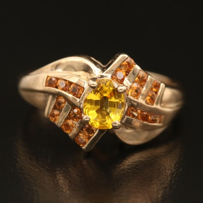 10K Sapphire and Spessartine Garnet Ring with Channel Set Shoulders