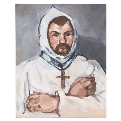 Figural Oil Painting of Acolyte, 21st Century