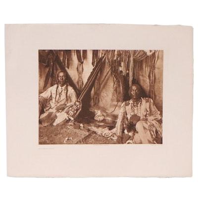 "Edward Curtis Photogravure ""In a Piegan Lodge,"" Circa 1910"