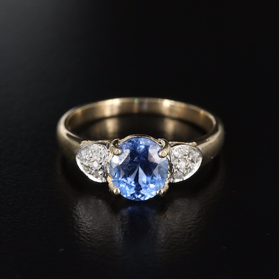 14K 1.69 CT Sapphire Ring with 0.06 CTW Diamond Cluster Shoulders