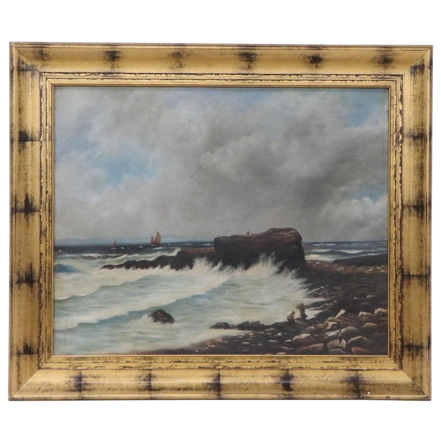 Coastal Landscape Oil Painting, Circa 1900