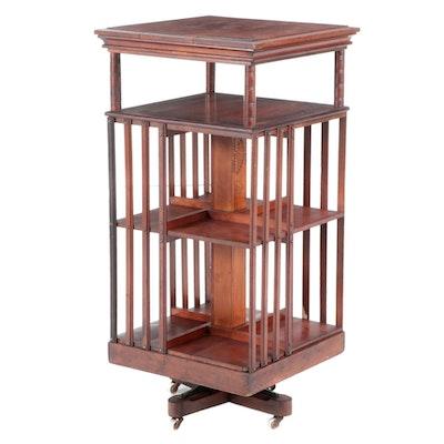 John Danner Cherrywood Four-Tier Revolving Bookcase, Late 19th Century