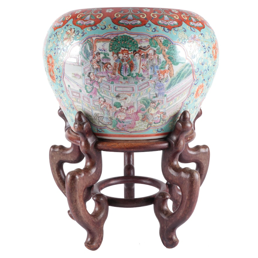 Chinese Scholars Ceramic Jardinière with Wooden Stand