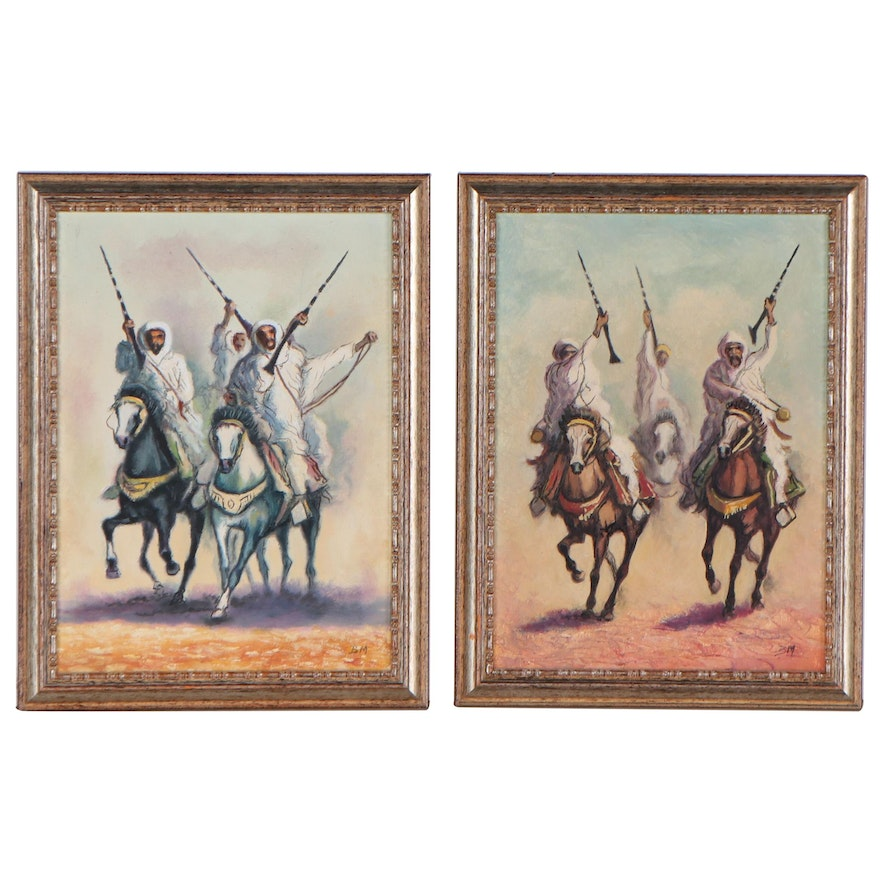 Oil Painting of Indo-Persian Lancers, Late 20th Century