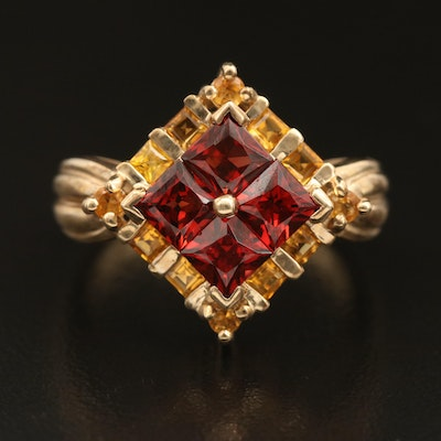 10K Garnet and Citrine Ring with Fluted Shoulders