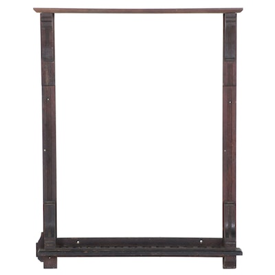 Late Victorian Carved and Quartersawn Oak Pool Cue Wall Rack