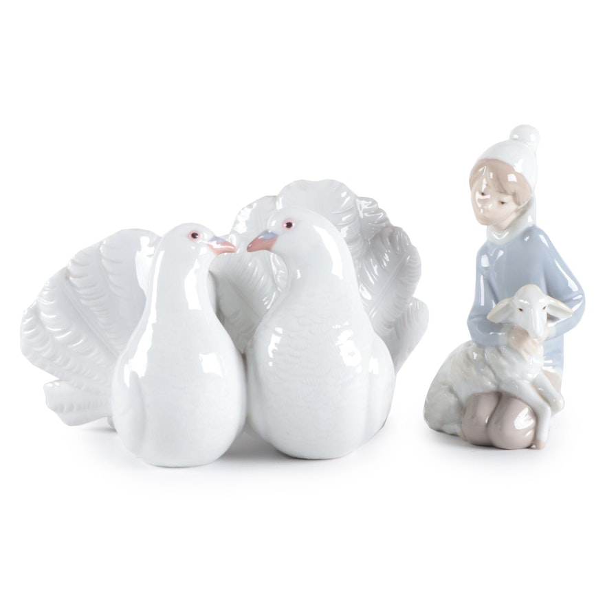 """Lladró """"Couple of Doves"""" and """"Shepherd with Lamb"""" Porcelain Figurines"""