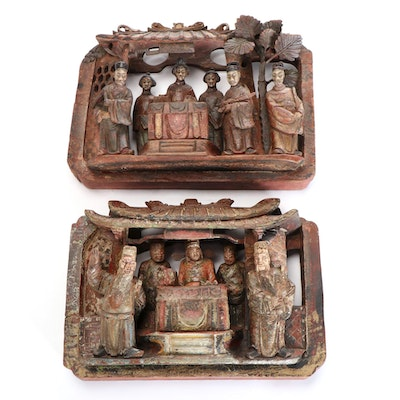 Chinese Polychromed Carved Wooden Figural Panels, 20th Century