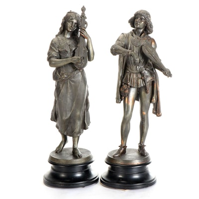 Italian Spelter Sculptures of Lute and Rebec Players