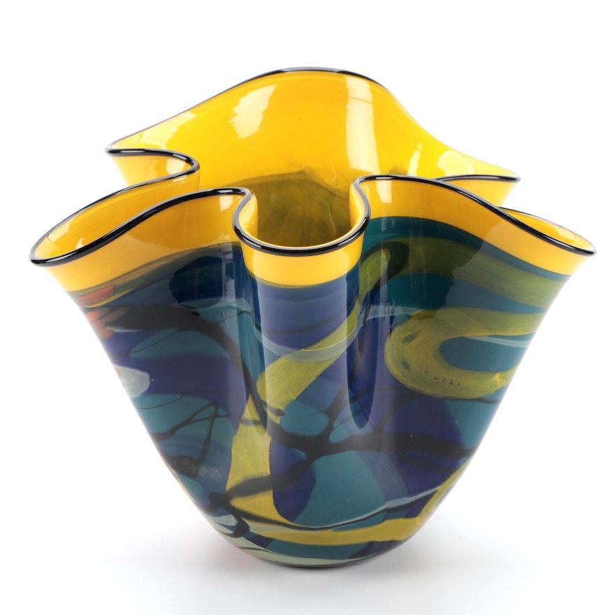 Artist Signed Abstract Art Glass Ruffled Rim Vase