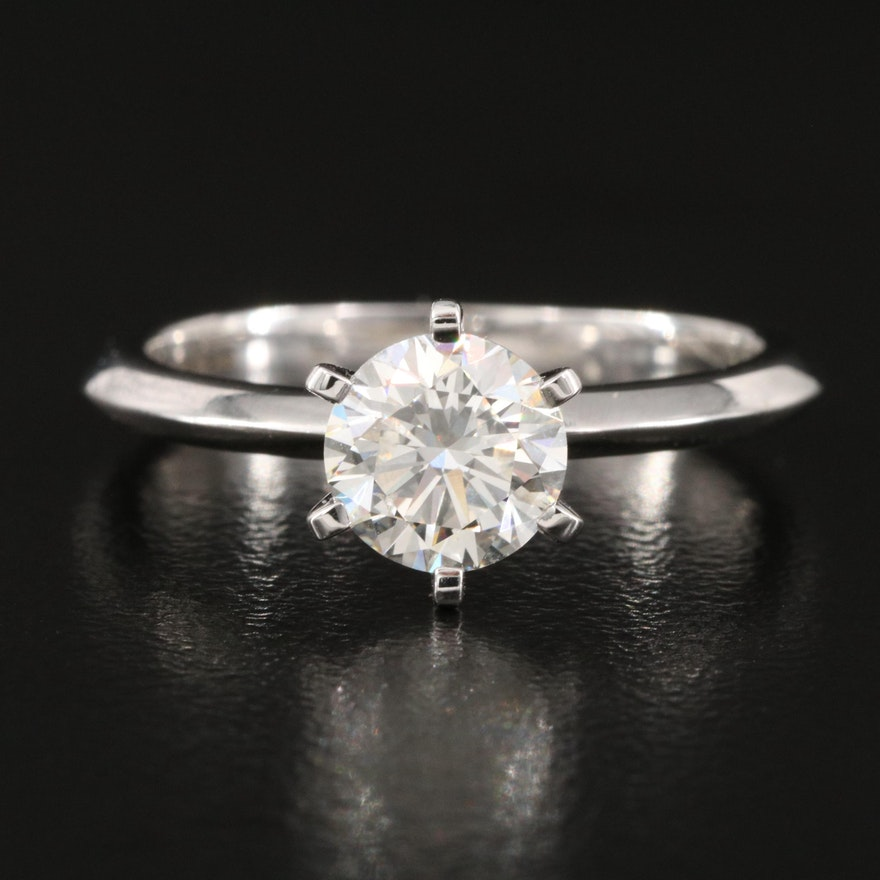 18K 1.00 CT Diamond Solitaire Ring with Knife-Edge Shoulders
