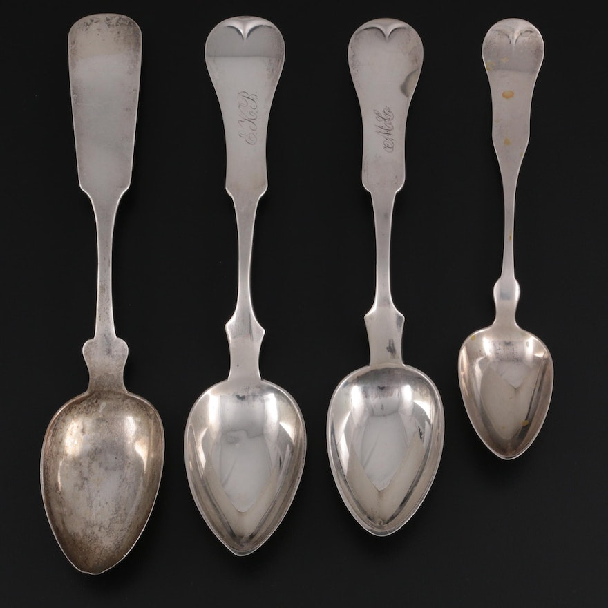 Lowell & Senter, Duhme & Co, D. Kinsey & Co, and Other Coin Silver Spoons