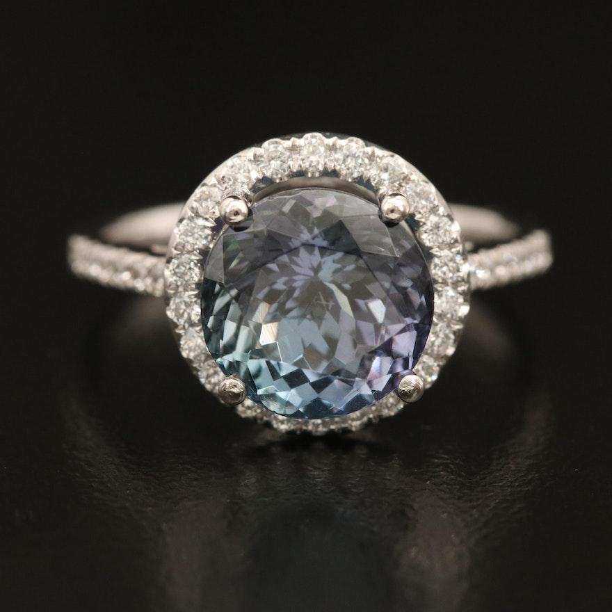 Platinum 4.08 CT Tanzanite and Diamond Ring with GIA Report