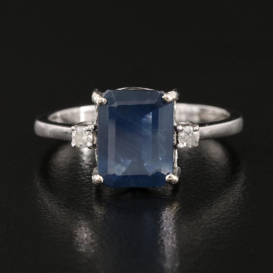 14K 1.89 CT Sapphire and Diamond Ring