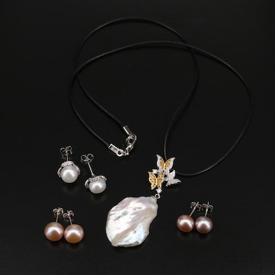 Sterling Pearl Necklace and Stud Earrings