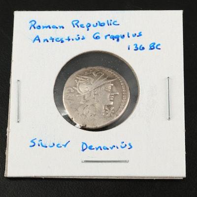 Ancient Roman Republic AR Denarius of Antestius Gragulus, ca. 136 BC