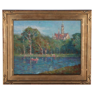 Walter Sargent Lakeside Oil Painting, Early 20th Century