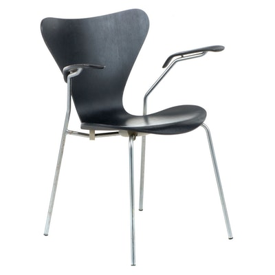Arne Jacobsen for Fritz Hansen Chromed Steel and Laminated Wood Armchair, 1970