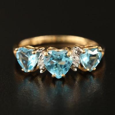 10K Topaz and 0.01 CTW Diamond Triple Heart Ring