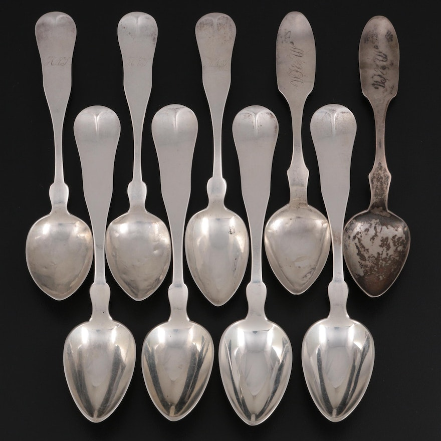 Farrington & Hunnewell, Job Mills, and J. Wakefield Coin Silver Spoons