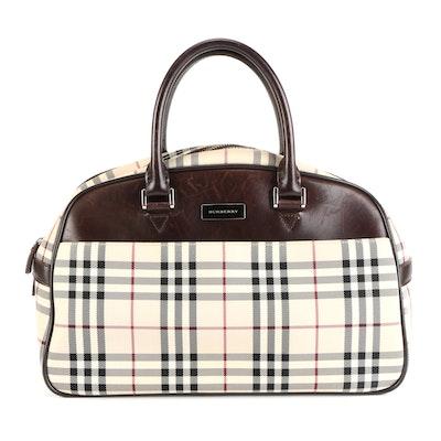 "Burberry Handbag in ""Nova Check"" Nylon Twill and Dark Brown Leather"