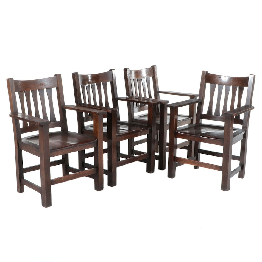 Four Paine Furniture Co. Arts and Crafts Quartersawn Oak Slat-Back Armchairs