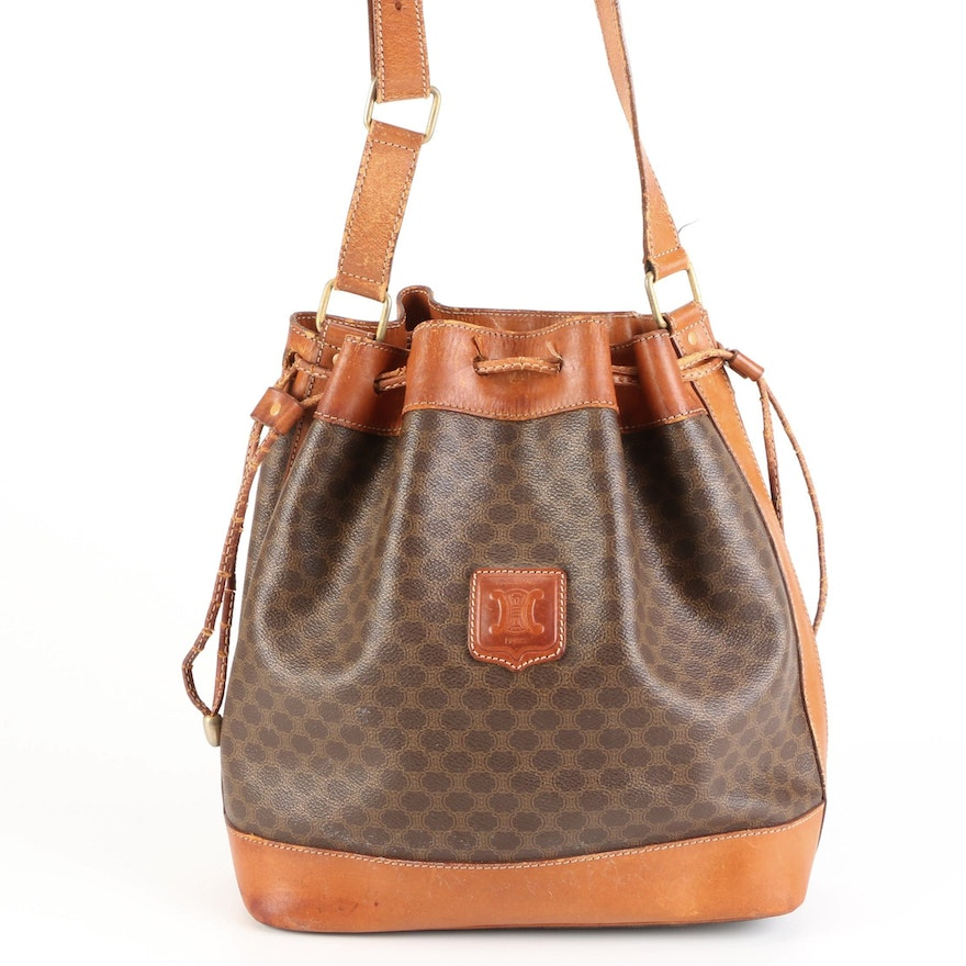 Celine Bucket Bag in Macadam Coated Canvas and Leather Trim