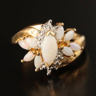 10K Opal and 0.01 CTW Diamond Cluster Ring
