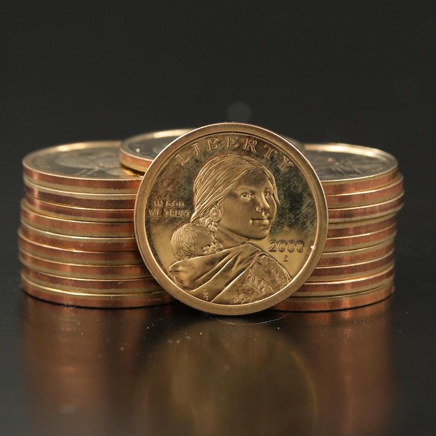 Twenty 2000-S Sacagawea Proof Dollars