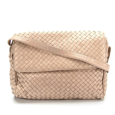 Bottega Veneta Flap Front Crossbody Bag in Light Taupe Intrecciato Woven Leather
