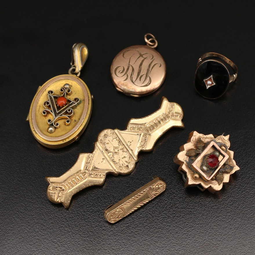 Victorian Jewelry Featuring Lockets, Pins and a Ring