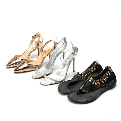 Manolo Blahnik and Louise et Cie Esperance Heels with Tory Burch Studded Sandals