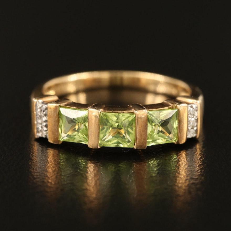 10K Peridot and 0.01 CTW Diamond Ring