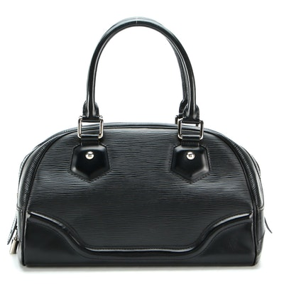 Louis Vuitton Bowling Montaigne PM in Noir Epi Leather and Smooth Leather