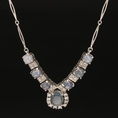 Platinum 3.06 CT Star Sapphire and 0.73 CTW Diamond Necklace
