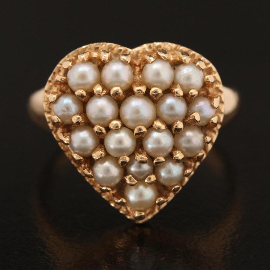 14K Pearl Heart Ring