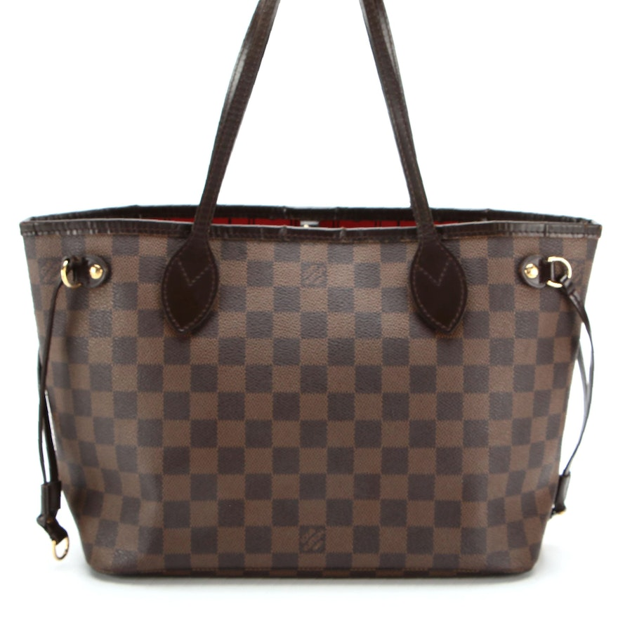 Louis Vuitton Neverfull PM in Damier Ebene Canvas with Leather Trim