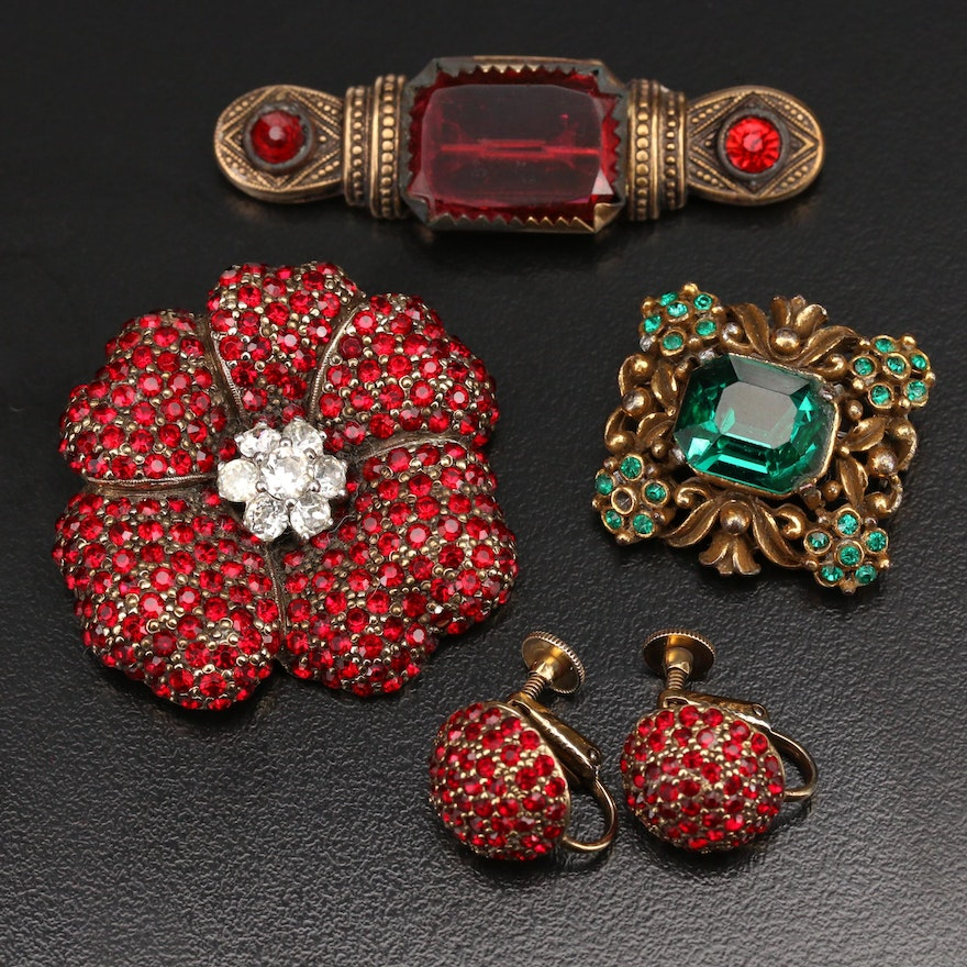 Vintage Rhinestone Brooches and Earrings Including Jomaz and Coro